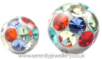 Surgical steel screw-on multi colour crystal ball