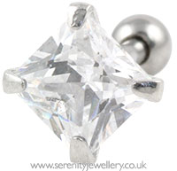 Princess cut crystal cartilage earring