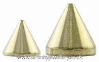 Gold PVD titanium screw-on cone