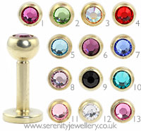 Gold PVD titanium jewelled labret - 1.6mm gauge