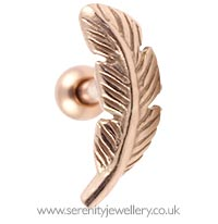 Rose gold plated feather cartilage earring