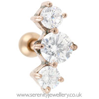 Rose gold plated prong-set three crystal cartilage earring