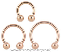 Rose gold PVD steel circular barbell