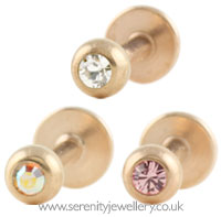 Rose gold PVD steel jewelled labret
