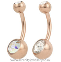 Rose gold PVD titanium double jewelled belly bar