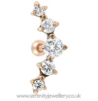 Rose gold plated prong-set five crystal cartilage earring