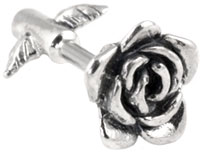 Rose on stem cartilage earring