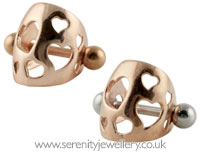 Rose gold plated hearts ear cuff