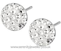 Surgical steel glitzy round stud earrings