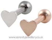 Small heart cartilage earring