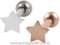 Small star cartilage earring