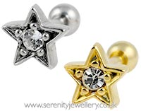 Star cartilage earring with crystal centre