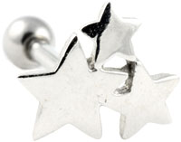 Three stars cluster cartilage earring