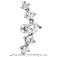 Prong-set five crystal cartilage earring
