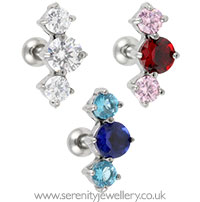 Prong-set three crystal cartilage earring