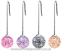 Blomdahl titanium straight pendant crystal ball earrings