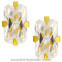 Studex Sensitive gold plated steel CZ rectangle earrings