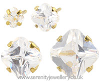 Studex Sensitive gold plated steel princess cut CZ earrings