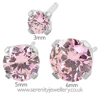 Studex Sensitive surgical steel pink CZ earrings