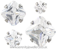 Studex Sensitive surgical steel princess cut CZ earrings