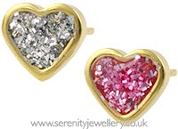 Studex Sensitive gold plated steel glitter heart earrings