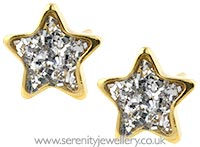 Studex Sensitive gold plated steel glitter star earrings
