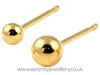 Studex Tiny Tips gold plated steel ball earrings