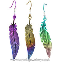 Ti2 titanium feather drop earrings