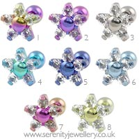 Five petal flower internally threaded titanium barbell