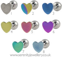 Titanium heart internally threaded barbell