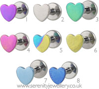 Titanium heart internally threaded labret