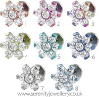 Six petal flower internally threaded titanium labret - 1.6mm gauge