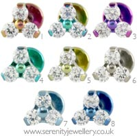 Trinity gem internally threaded titanium labret