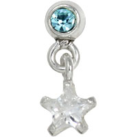 Bezel set crystal with dangling star tragus earring