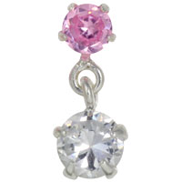 Crystal and dangling 4mm crystal tragus earring
