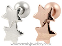 Two star cartilage earring