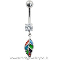 Vintage dangling leaf belly bar
